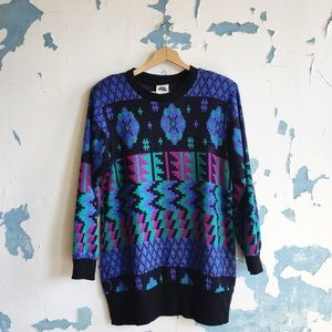 Vintage You Babes Geometric 80's Slouchy Sweater